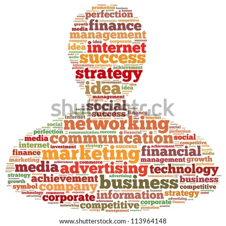 Marketing and business info-text graphics and arrangement concept on white background (word cloud) - stock photo
