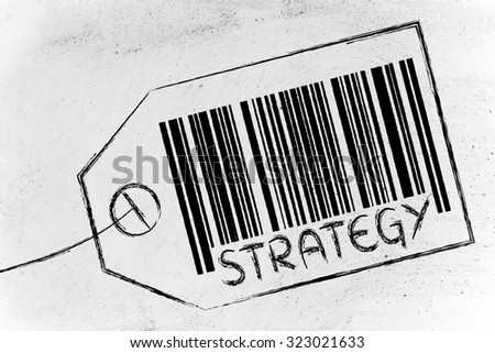 marketing and the retail industry: item label with code bar about Sales Strategy