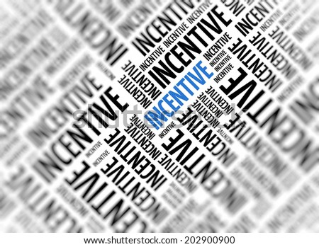 Marketing background with the word - Incentive - repeated in random sizes and orientations in black text with one central word in large blue uppercase lettering and selective focus - stock photo