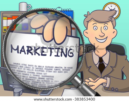 Marketing. Business Man Showing a Paper with Text through Magnifier. Colored Modern Line Illustration in Doodle Style. - stock photo