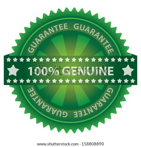 Marketing Campaign, Promotion or Business Concept Present By Green Glossy Badge With 100 Percent Genuine Label With Guarantee Text Around Isolated on White Background  - stock photo