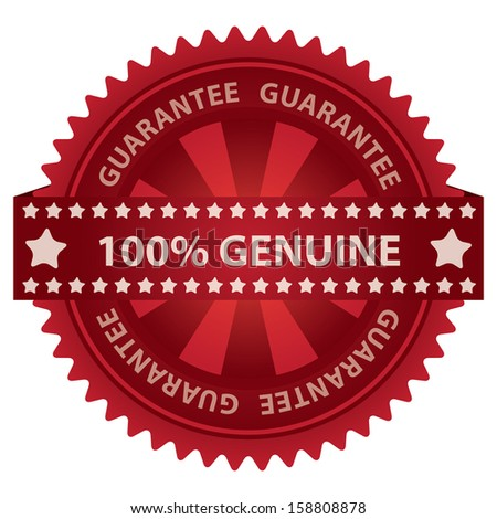 Marketing Campaign, Promotion or Business Concept Present By Red Glossy Badge With 100 Percent Genuine Label With Guarantee Text Around Isolated on White Background  - stock photo