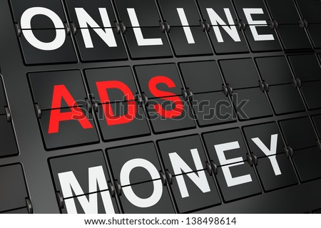 Marketing concept: Ads on airport board background, 3d render - stock photo