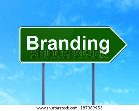 Marketing concept: Branding on green road (highway) sign, clear blue sky background, 3d render