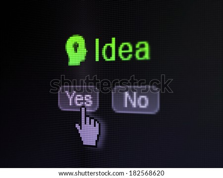 Marketing concept: buttons yes and no with pixelated Head With Light Bulb icon, word Idea and Hand cursor on digital computer screen, selected focus 3d render - stock photo