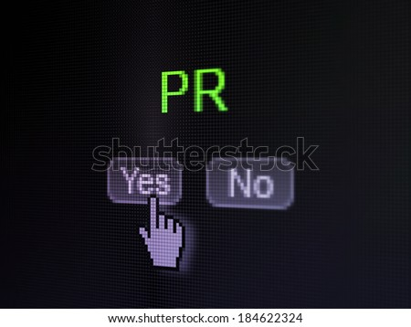 Marketing concept: buttons yes and no with pixelated word PR and Hand cursor on digital computer screen, selected focus 3d render - stock photo