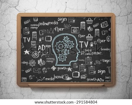 Marketing concept: Chalk Blue Head With Gears icon on School Board background with  Hand Drawn Marketing Icons, 3d render