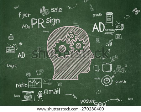 Marketing concept: Chalk Pink Head With Gears icon on School Board background with Scheme Of Hand Drawn Marketing Icons, 3d render - stock photo