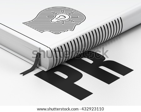 Marketing concept: closed book with Black Head With Light Bulb icon and text PR on floor, white background, 3D rendering