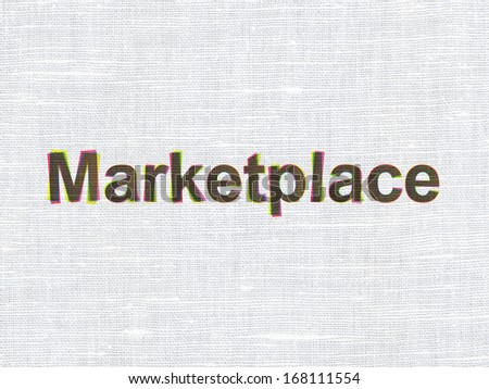 Marketing concept: CMYK Marketplace on linen fabric texture background, 3d render