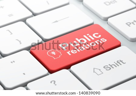 Marketing concept: computer keyboard with Head Whis Lightbulb icon and word Public Relations, selected focus on enter button, 3d render - stock photo