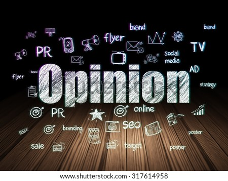 Marketing concept: Glowing text Opinion,  Hand Drawn Marketing Icons in grunge dark room with Wooden Floor, black background - stock photo