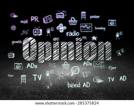 Marketing concept: Glowing text Opinion,  Hand Drawn Marketing Icons in grunge dark room with Dirty Floor, black background, 3d render - stock photo