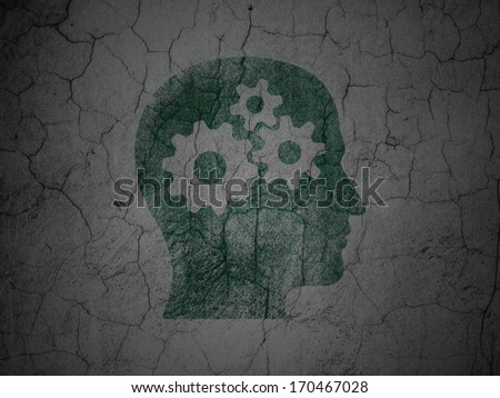 Marketing concept: Green Head With Gears on grunge textured concrete wall background, 3d render
