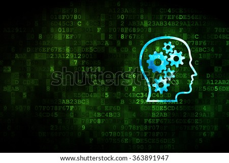 Marketing concept: Head With Gears on digital background