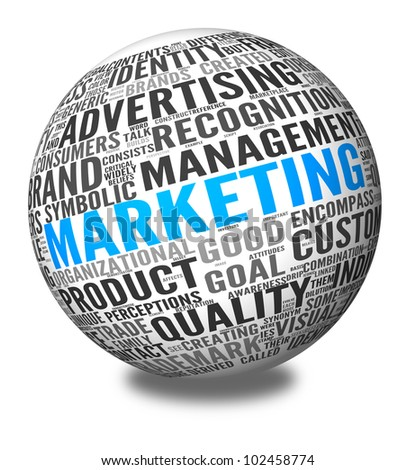 Marketing concept in word tag cloud on 3d sphere - stock photo