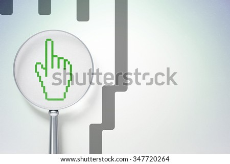 Marketing concept: magnifying optical glass with Mouse Cursor icon on digital background, empty copyspace for card, text, advertising - stock photo