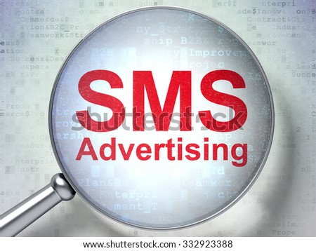 Marketing concept: magnifying optical glass with words SMS Advertising on digital background