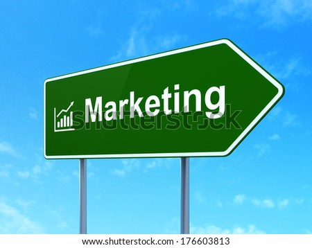 Marketing concept: Marketing and Growth Graph icon on green road (highway) sign, clear blue sky background, 3d render