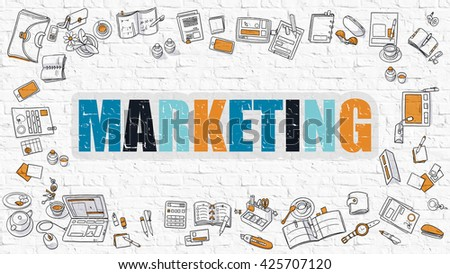 Marketing Concept. Modern Line Style Illustration. Multicolor Marketing Drawn on White Brick Wall. Doodle Icons. Doodle Design Style of  Marketing Concept. - stock photo