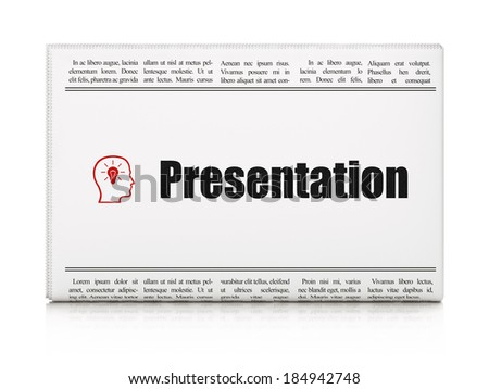Marketing concept: newspaper headline Presentation and Head With Lightbulb icon on White background, 3d render - stock photo