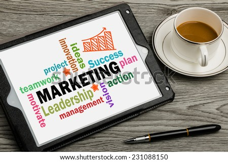 marketing concept on touch screen background - stock photo