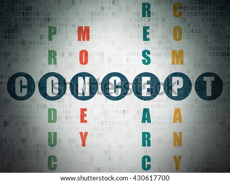 Marketing concept: Painted blue word Concept in solving Crossword Puzzle on Digital Data Paper background - stock photo