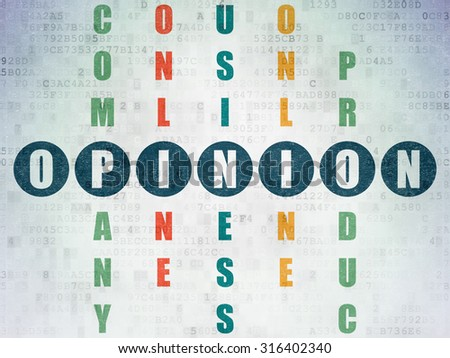 Marketing concept: Painted blue word Opinion in solving Crossword Puzzle on Digital Paper background - stock photo