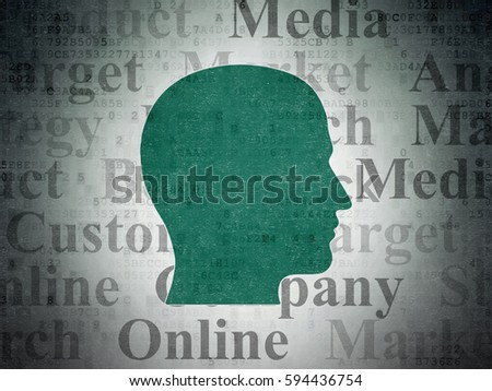 Marketing concept: Painted green Head icon on Digital Data Paper background with  Tag Cloud