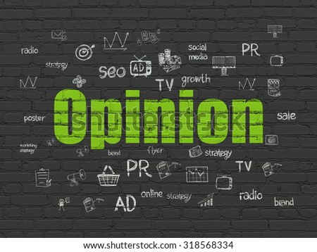 Marketing concept: Painted green text Opinion on Black Brick wall background with  Hand Drawn Marketing Icons - stock photo