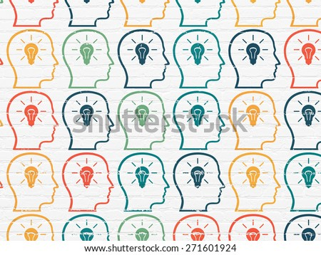 Marketing concept: Painted multicolor Head With Lightbulb icons on White Brick wall background, 3d render - stock photo