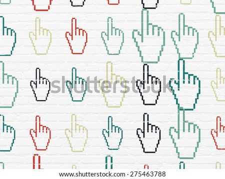 Marketing concept: Painted multicolor Mouse Cursor icons on White Brick wall background, 3d render - stock photo