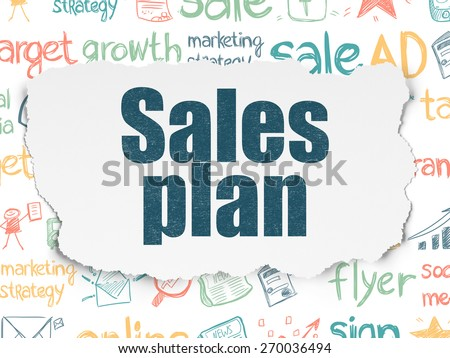 Marketing concept: Painted multicolor text Sales Plan on Torn Paper background with  Hand Drawn Marketing Icons, 3d render - stock photo