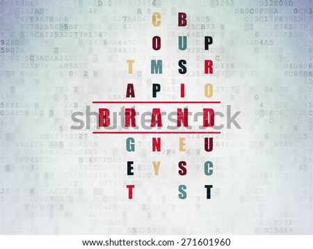 Marketing concept: Painted red word Brand in solving Crossword Puzzle on Digital Paper background, 3d render - stock photo