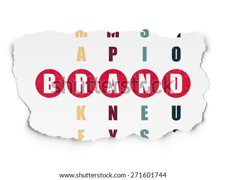 Marketing concept: Painted red word Brand in solving Crossword Puzzle on Torn Paper background, 3d render - stock photo