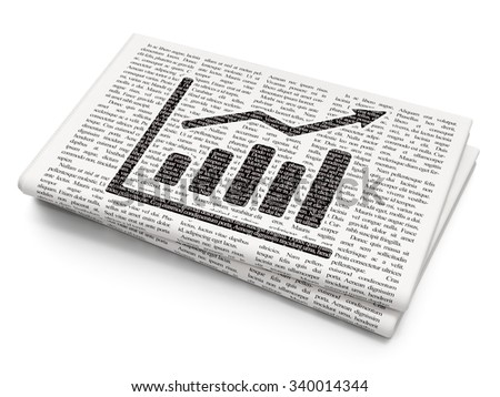 Marketing concept: Pixelated black Growth Graph icon on Newspaper background - stock photo