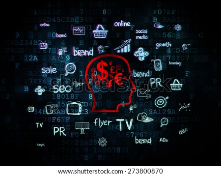 Marketing concept: Pixelated red Head With Finance Symbol icon on Digital background with  Hand Drawn Marketing Icons, 3d render - stock photo