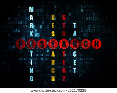 Marketing concept: Pixelated red word Research in solving Crossword Puzzle on Digital background, 3d render - stock photo