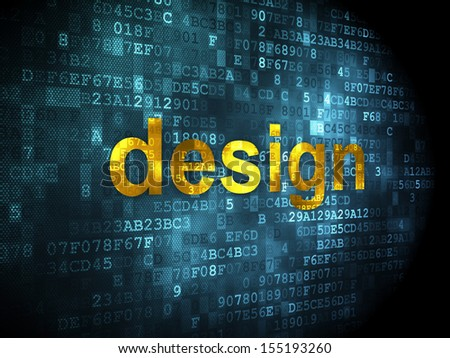 Marketing concept: pixelated words Design on digital background, 3d render