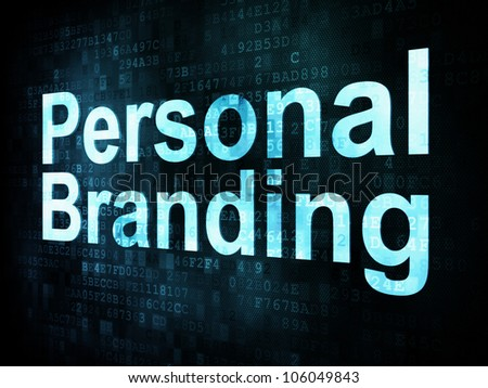 Marketing concept: pixelated words Personal Branding on digital screen, 3d render