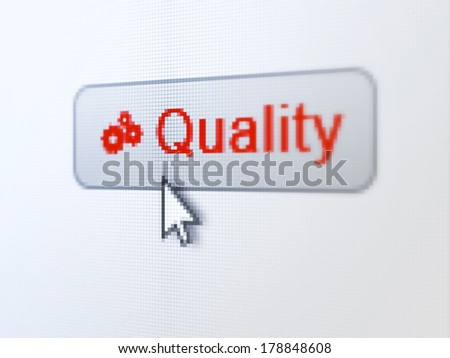 Marketing concept: pixelated words Quality and Gears icon on button withArrow cursor on digital computer screen background, selected focus 3d render - stock photo