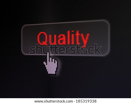 Marketing concept: pixelated words Quality on button with Hand cursor on digital computer screen background, selected focus 3d render - stock photo