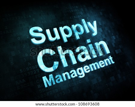 Marketing concept: pixelated words Supply Chain Management on digital screen, 3d render - stock photo