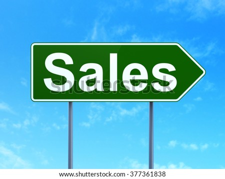 Marketing concept: Sales on road sign background - stock photo