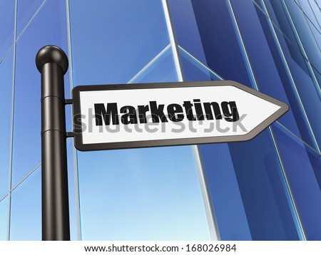 Marketing concept: sign Marketing on Building background, 3d render - stock photo