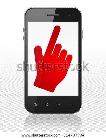 Marketing concept: Smartphone with red Mouse Cursor icon on display - stock photo