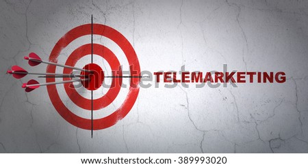 Marketing concept: target and Telemarketing on wall background - stock photo