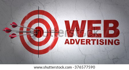 Marketing concept: target and WEB Advertising on wall background - stock photo