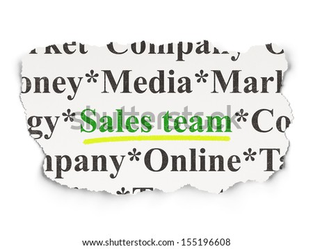 Marketing concept: torn newspaper with words Sales Team on Paper background, 3d render