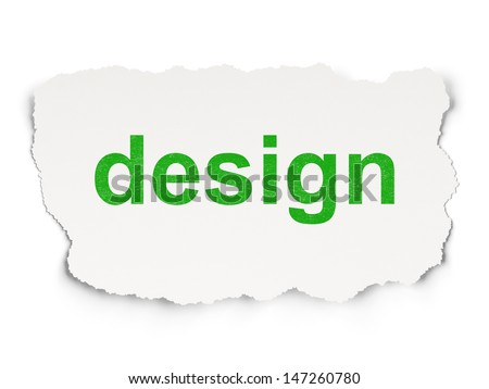 Marketing concept: torn paper with words Design on Paper background, 3d render - stock photo